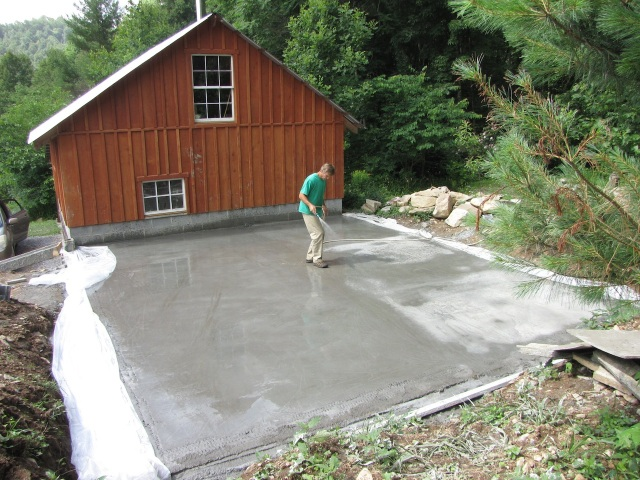What the slab looked like the morning after the pour.